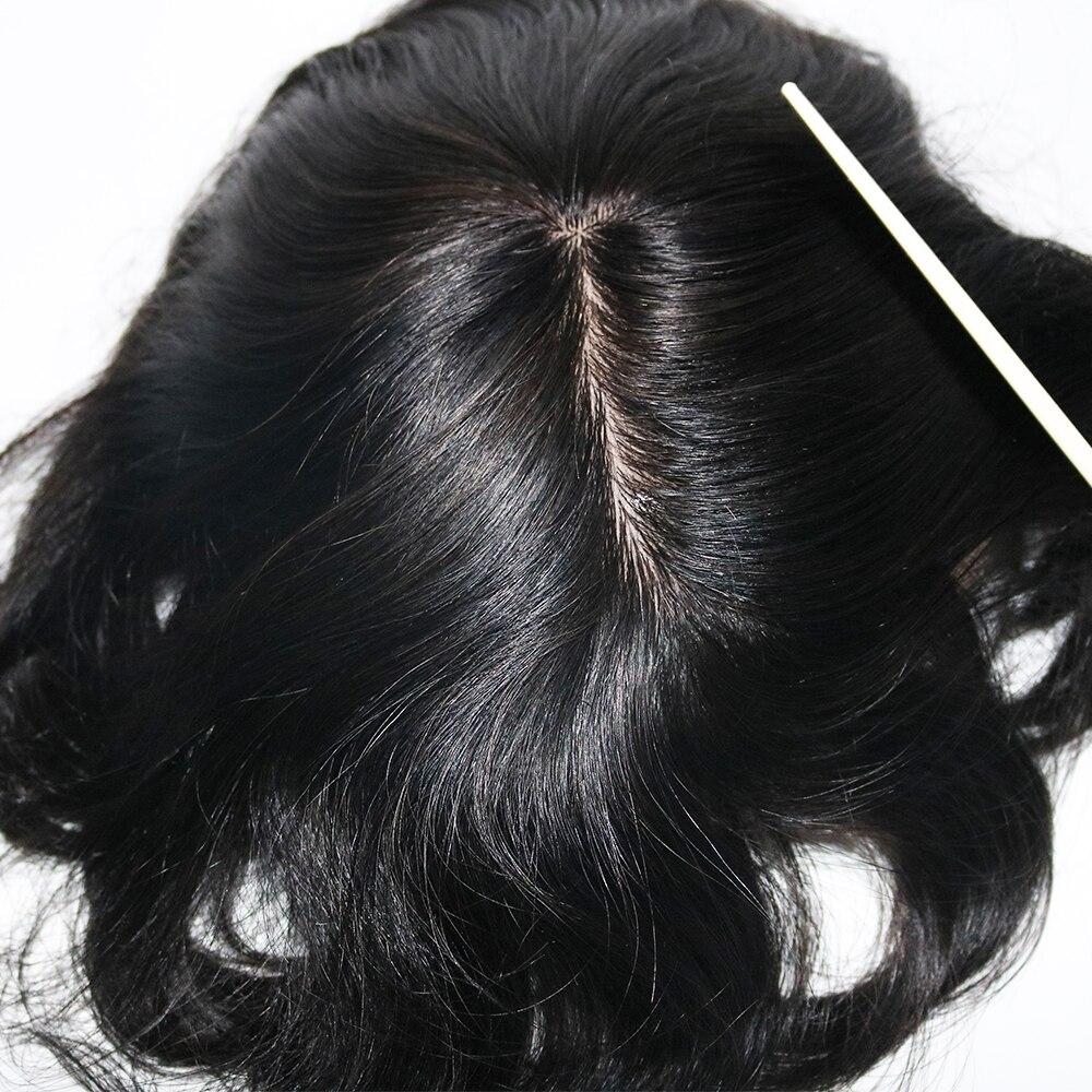 Image 2 - Eversilky шелковая основа с поли вокруг Мужчин Toupee натуральная кожа головы выглядит отбеленные узлы натуральные волосы Замена парик парикиПарики    АлиЭкспресс