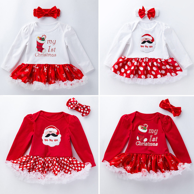 029df6e78 Newborn Baby Girl Clothes My First Christmas Cotton Long Sleeve Infant Bebe  Tutu Dress Romper Outfit Baby gifts Birthday Costume