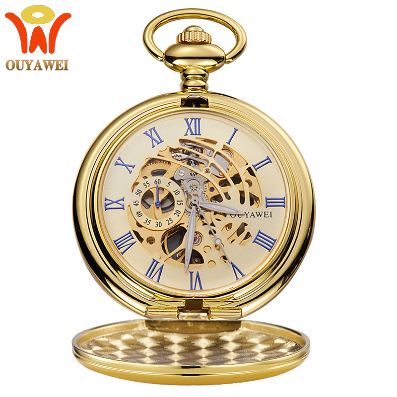 OUYAWEI Brand Luxury Gold Double Hunter Pocket Watch Mechanical Hand Wind Skeleton Fob Chain Watches Men Women Gift Relogio 2017 new arrival luxury gold transparent skeleton hand wind mechanical pocket watch with chain for men women birthday gift