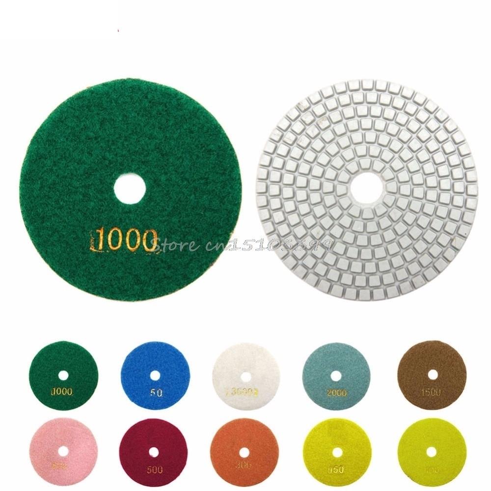 100mm 4 Wet/ Stone Polisher Wheel Disc Grit for Granite Marble Stone 300 Diamond Polishing Pads
