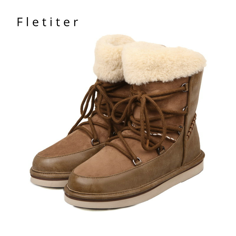 Women Winter Boots Genuine Leather Snow Boots Ankle Warm Fur Shoes Woman Flats Round Toe Female Casual Shoes Platform Plus Size brand winter thick red boots fashion snow boots for women fur shoes ankle boots girls platform shoes women flats plus size 40