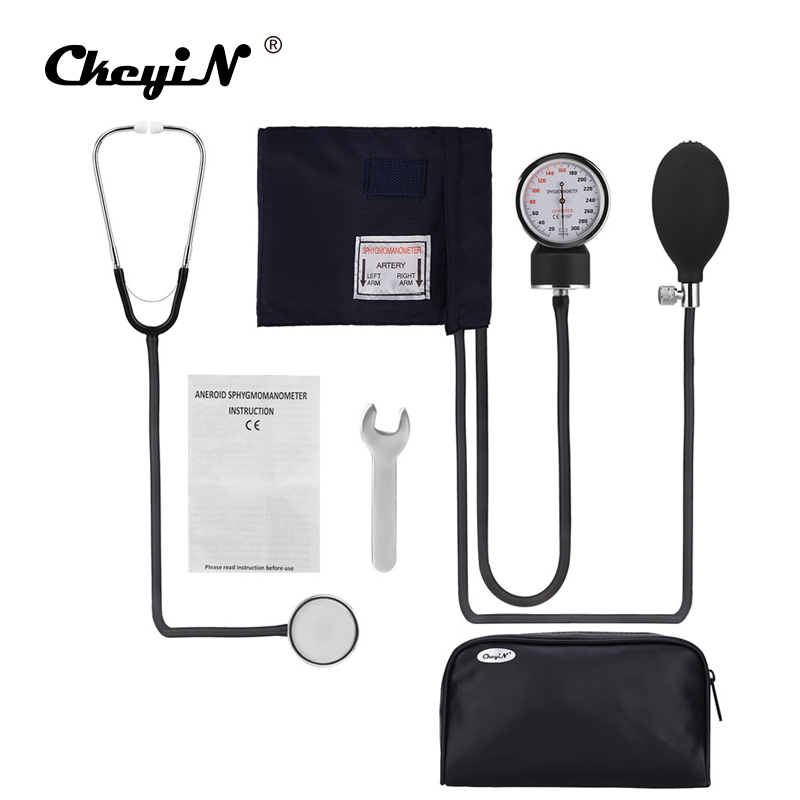 Professional Medical Manual Sphygmomanometer Cuff Blood Pressure Monitor Stethoscope Doctor Household Measure Device With Bag