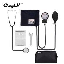 Profesyonel manuel tansiyon aleti manşet kan basıncı monitörü stetoskop doktor ev ölçü cihazı çantası ile