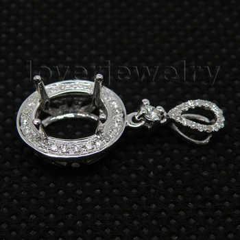 New Elegant Vintage Oval 7x9mm Solid 14Kt White Gold Natural Diamond Semi mount Pendant WP20