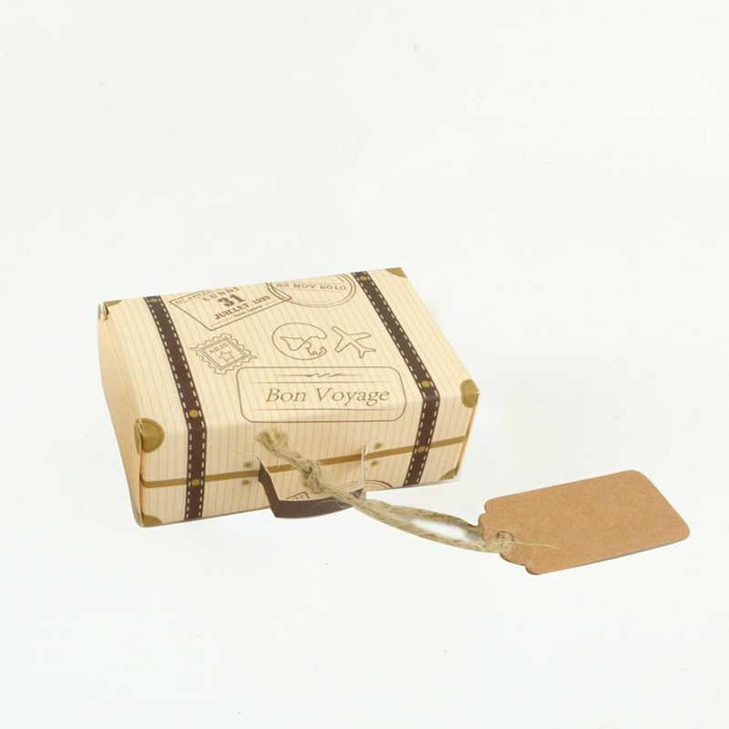 50ピース餞別クラフト紙キャンディーボックス旅行テーマレトロスーツケースdiy結婚式の好意キャンディーホルダーバッグギフトボックスズパーティー用品