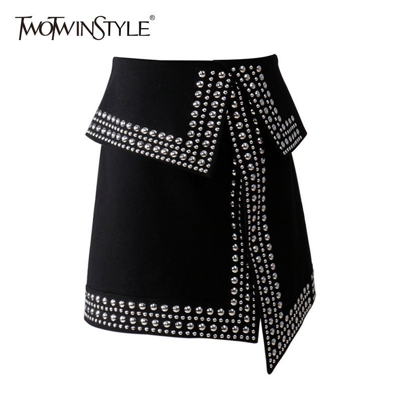 TWOTWINSTYLE Rivet Patchwork Skirt For Women Split Asymmetrical High Waist Bodycon Zipper Skirts Spring Fashion Sexy Clothing