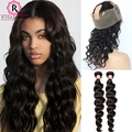 360 Lace Frontal With Bundles 7A Brazilian Loose Wave With Closure 360 Circular Back And Front Lace Frontal Closure With Bundles