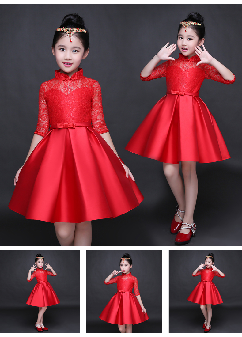HTB1fq9ESFXXXXakXFXXq6xXFXXXT - Baby Girl Kid Evening Party Dresses For Girl Wedding Princess Clothing 2017 New Solid Color Bow Moderator Dress Children Clothes