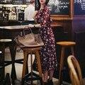 2016 Лето Женщины Платье 3/4 Рукава Шифон Платье Для Женщин Sexy Вечерние Платья Партии vestidos V Шеи Кнопки