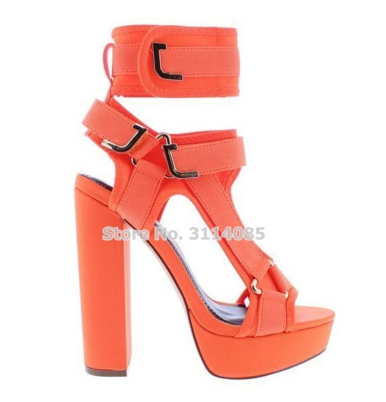 Young Ladies Elegant Mixed Color Chunky Heel Sandals Pink Orange Platform Buckle Strap Thick Heel Pumps Nice Wedding Shoes in High Heels from Shoes