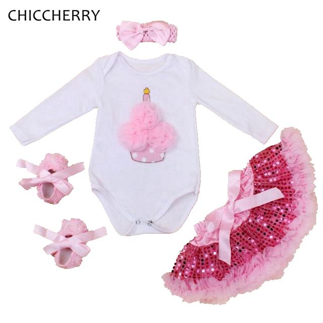 Criança do Aniversário do queque Tutu Define Bodysuit Manga Longa Saia de Renda Headband Crib Shoes Baby Girl Conjunto Roupa Infantil Bebe
