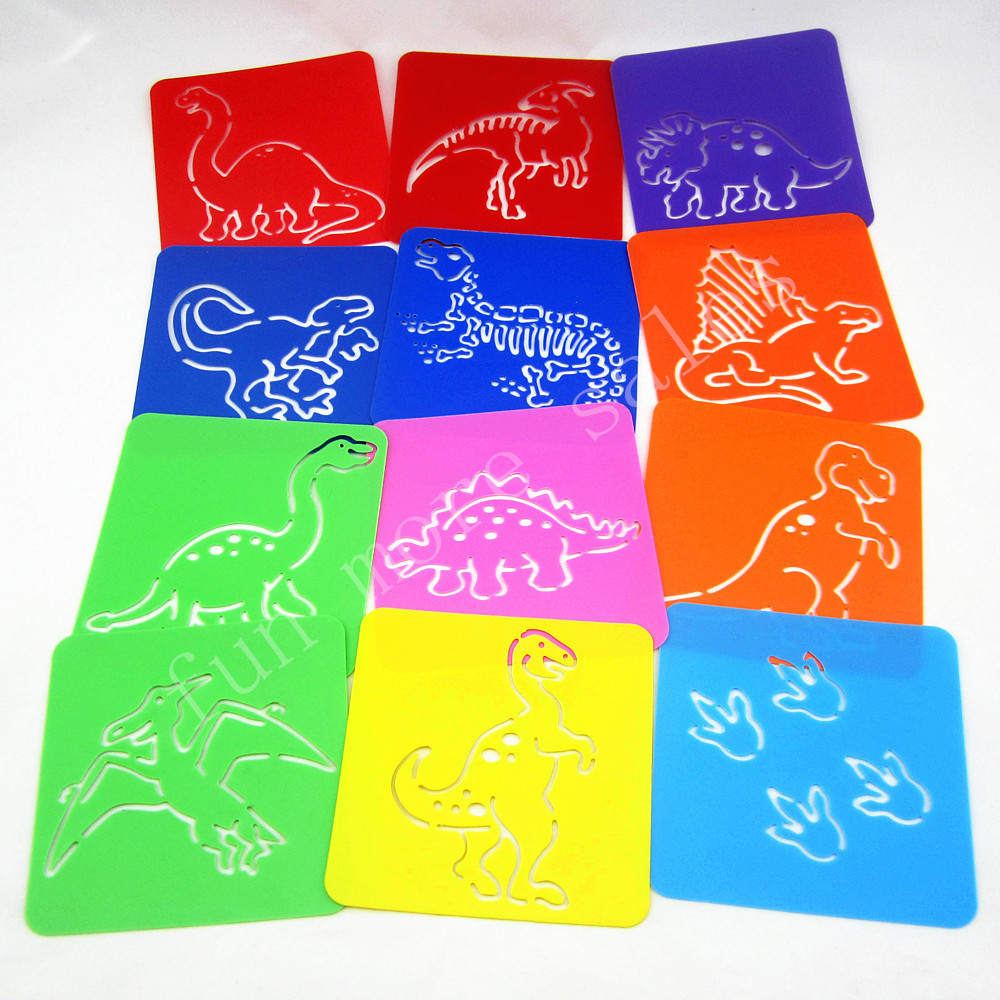 12Designs / set Stencils for maling Dinosaur Kids tegning maler Plast boards baby hot toys for barn Vaskbar 128x128mm