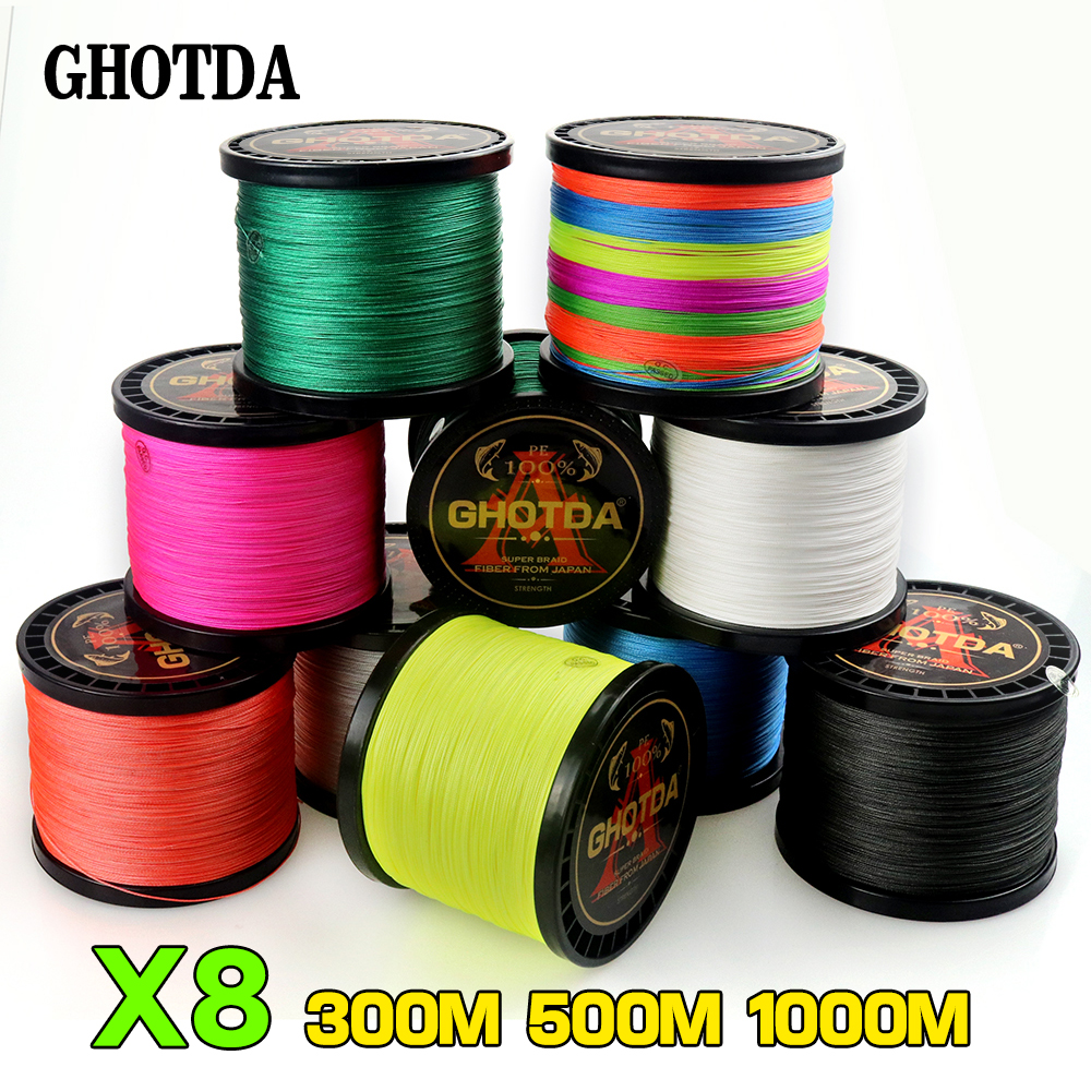 GHOTDA 8 Strands 1000M 500M 300M PE Braided Fishing Line tresse peche Saltwater Fishing Weave Superior Extreme Super Strong(China)