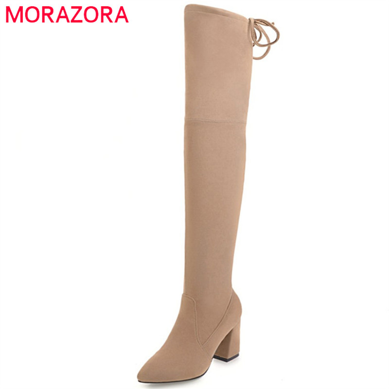 купить MORAZORA PU nubuck leather boots female over the knee boots in autumn high heels boots fashion shoes stretch zip solid дешево