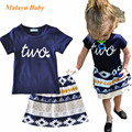 Malayu Baby brand 2017 summer new girl casual suit letters two love short sleeve T-shirt + geometric pattern skirt two-piece
