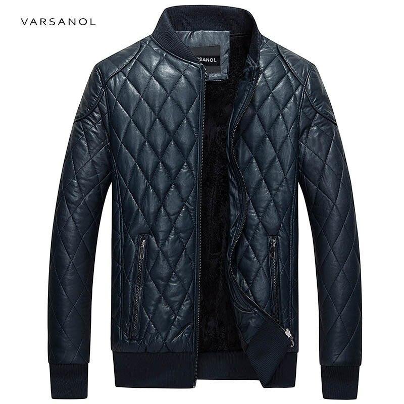 Varsanol брендовые кожаные Курточка бомбер Для мужчин с длинным рукавом молнии свободные Повседневное теплая верхняя одежда одноцветное Водон...
