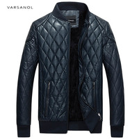 Varsanol Brand Leather Bomber Jacket Men Long Sleeve Zipper Loose Casual Warm Outwear Solid Waterproof Overcoat