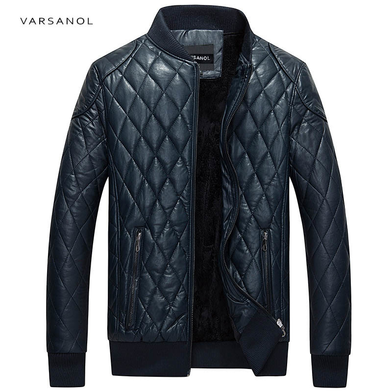 Varsanol Brand Leather Bomber Jacket Men Long Sleeve Zipper Loose Casual Warm Outwear Solid Waterproof Overcoat