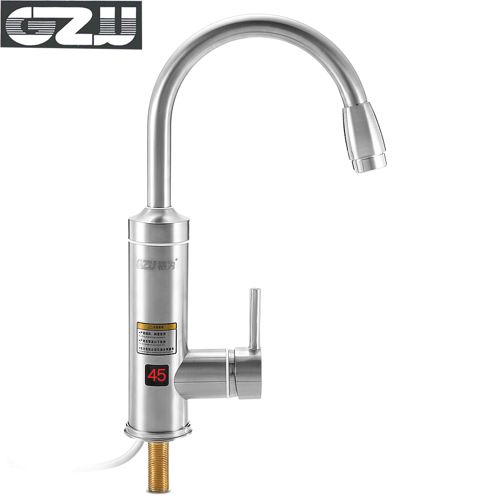 GZU ZM - C2 High Quality Stainless Steel Electric Hot Water Heater Faucet Kitchen Bathroom Heating Tap Digital Display For Home stainless steel electric double ceramic stove hot plate heater multi cooking cooker appliances for kitchen 220 240v vde plug