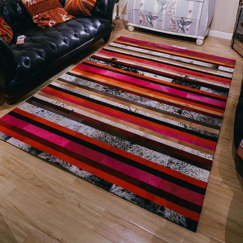 Peau de vache de luxe cousu carré rayé tapis, peau de vache naturelle cacher rayé tapis pour salon décoration bureau tapis