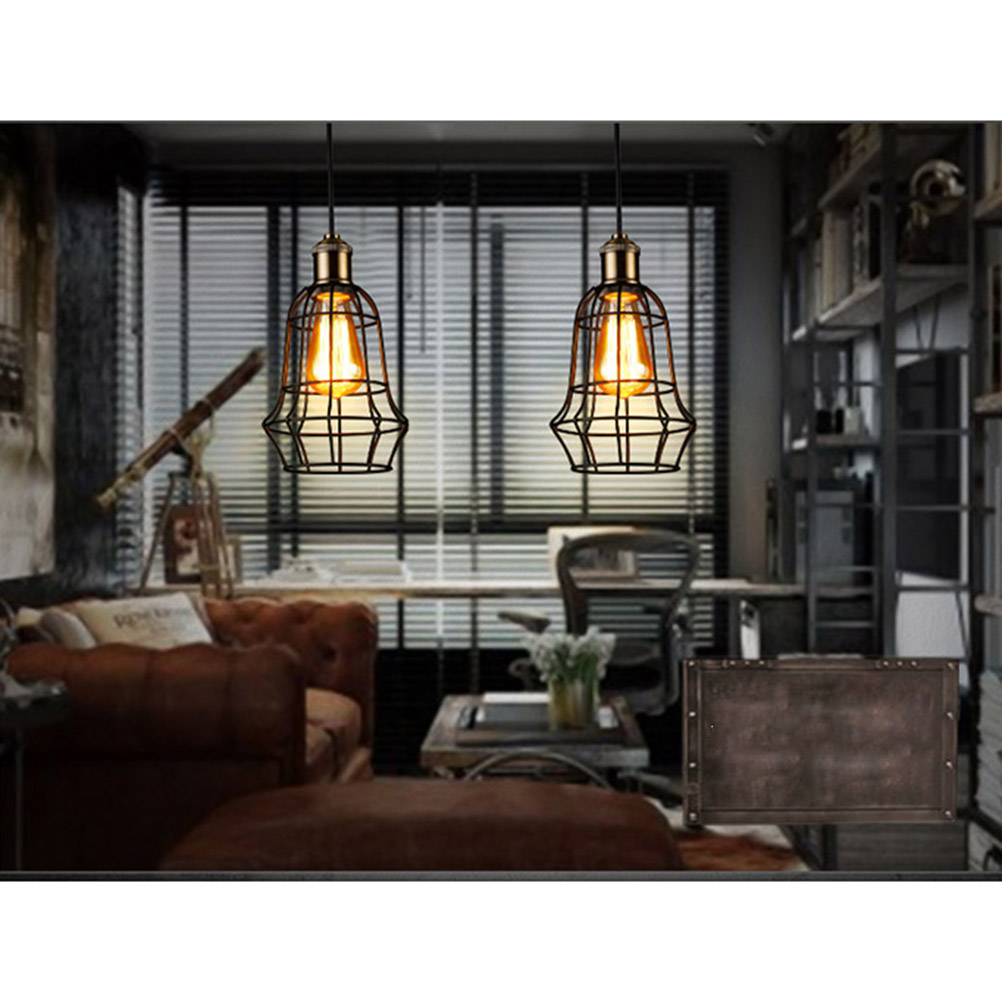 Vintage Industrial Loft Wire Cage Hanging Pendant Lighting E27 ...