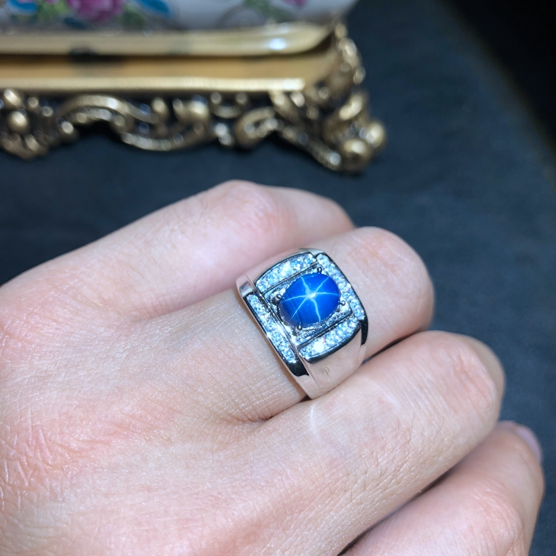 Masculine Ring Blue Star Sapphire Gemstone Ring For Men 925 Sterling Silver Men Birthday Party Daily Gift Souvenir Love