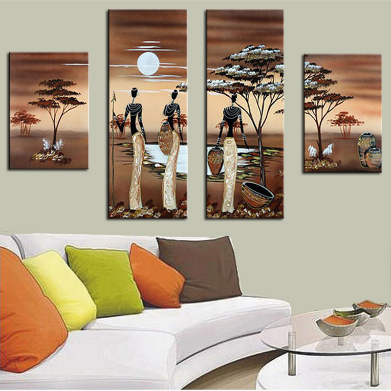 4 Panel Abstract African Landscape Oil Paintings On Canvas Handpainted African Women Wall Art Picture for Living Room Home Decor