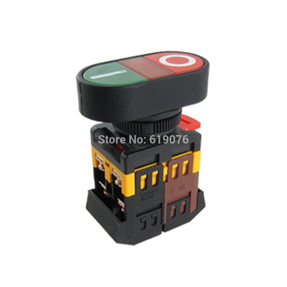 22mm  220V AC ON/OFF START STOP 1 NO NC APBB-22N Momentary Push Button Switch With LED yellow Lamp bqlzr dc12 24v black push button switch with connector wire s ot on off fog led light for toyota old style