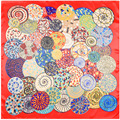 90cm * 90cm new scarf geometric circle snail imitation silk scarf towel