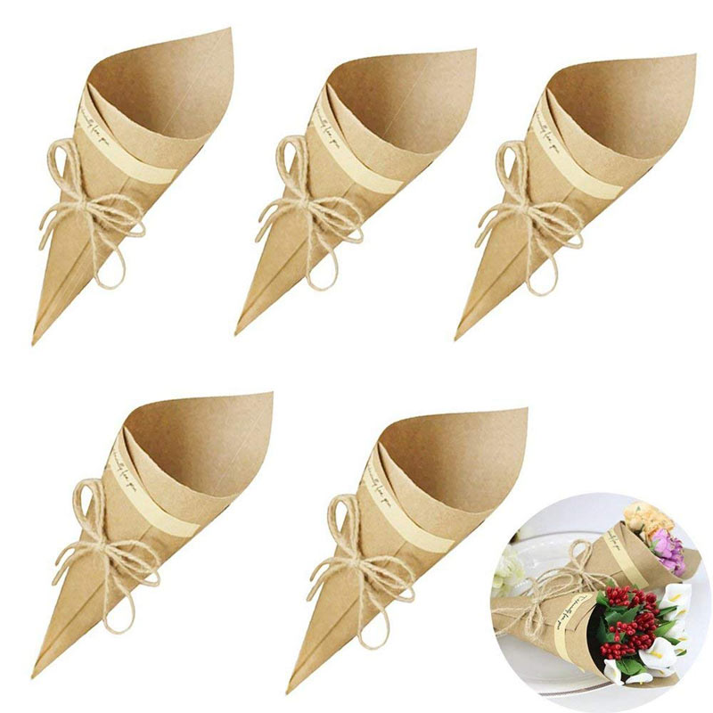 50PcsSet Confetti Cone Bouquet With Hemp Ropes Wedding Diy Decoraion Retro Folding Kraft Paper Gifts Packing Party Supplies (17)