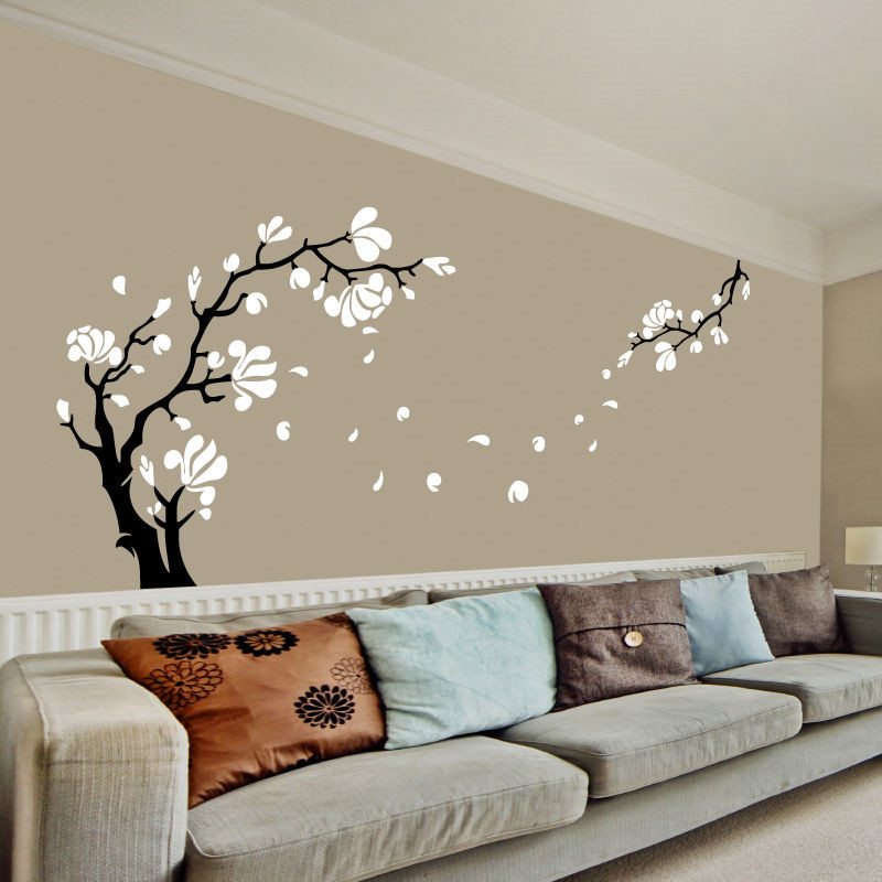 Magnolia Flower Tree Wall Art Stickers Wall Decals Removable Easy To Apply High Quality