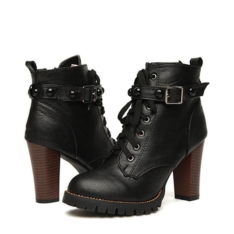 2017 Nouveau Femmes Noir Bottines moto mince haut talon double boucle gothique punk chaussures haut talon,noir,35