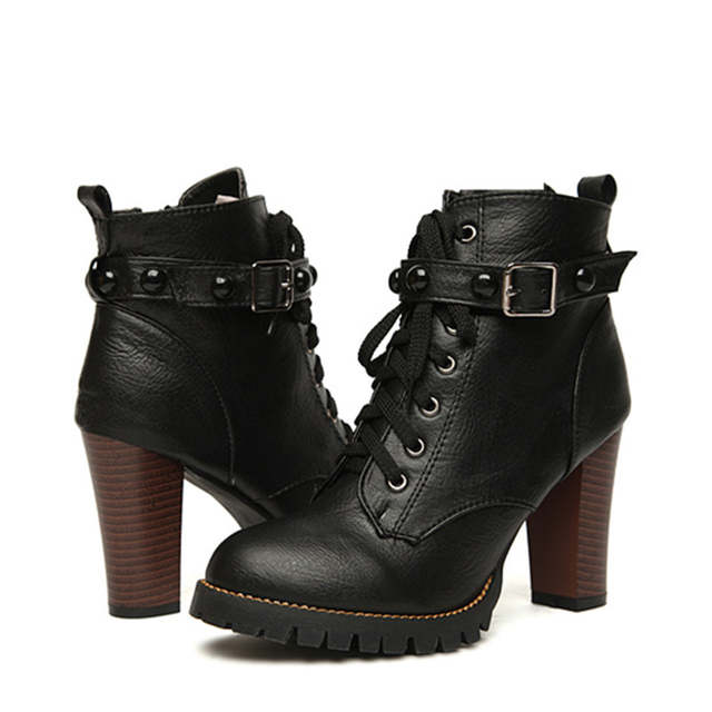 14ae24b09aa3 placeholder COSMAGIC 2019 New Winter Women Black High Heel Martin Boots  Buckle Gothic Punk Ankle Motorcycle Combat