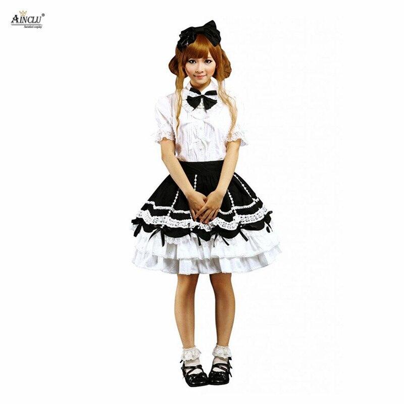 Ainclu livraison gratuite Cemavin femmes coton blanc Lolita Blouse et noir Lady Lolita jupe tenue habituellement jours fête