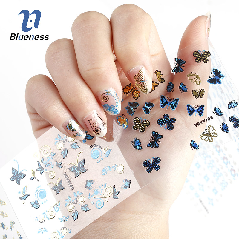 24Pcs in 1 Large Size Sheet Tree leaf Butterfly Animal Pattern Stamping 3D Nail Sticker Charms Bronzing Nail Art Decal JH129 24pcs lot 3d nail stickers decal beauty summer styles design nail art charms manicure bronzing vintage decals decorations tools