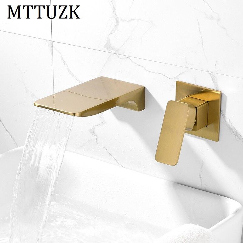 MTTUZK Ванная комната Матовый Золотой водопад кран черный смеситель горячей холодной смесители хром ванна кран