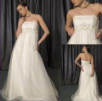 Hot Sale ! Free Shipping 2016 New Arrival Strapless vestido de noiva Empire Pregnant Woman White / Ivory Wedding Dresses OW 7802