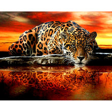 Leopard animals new arrival crafts DIY Crystal full drill square 5D diamond painting cross stitch kit mosaic round rhinestone(China)