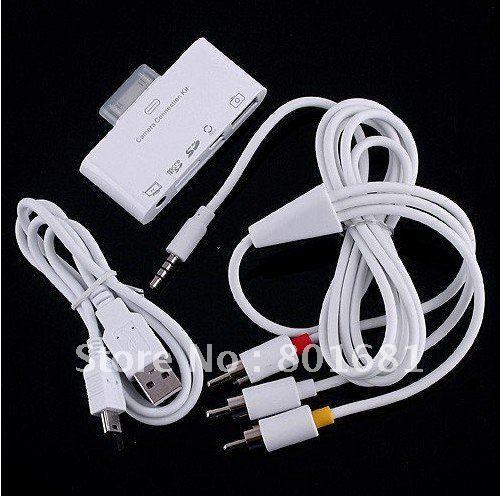 5 В 1 USB Камера Клавиатура Комплект Подключения для iPad SD/TF Слот Для карты Автомобильный Адаптер Чтения с Av-кабель, Розничная Коробка + Бесплатная доставка