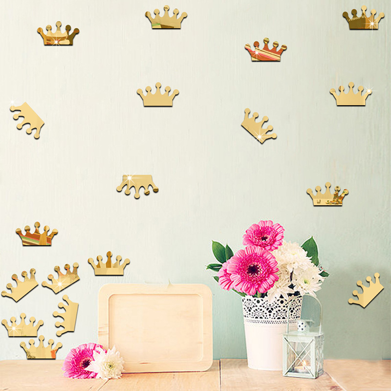 unidsset cm princess crown espejo extrable pegatinas de pared de