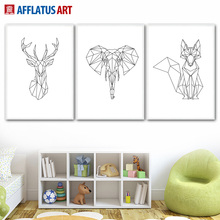 Geometric Elephant Deer Fox Nordic Poster Wall Art Canvas Painting Posters And Prints Pictures For Living Room Kids Decor