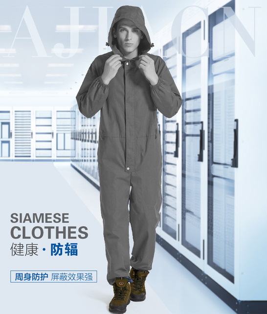 High radiation protection silver fiber coverall ,computer room, electrical protective siamese clothing,EMF EMW shielding suit,
