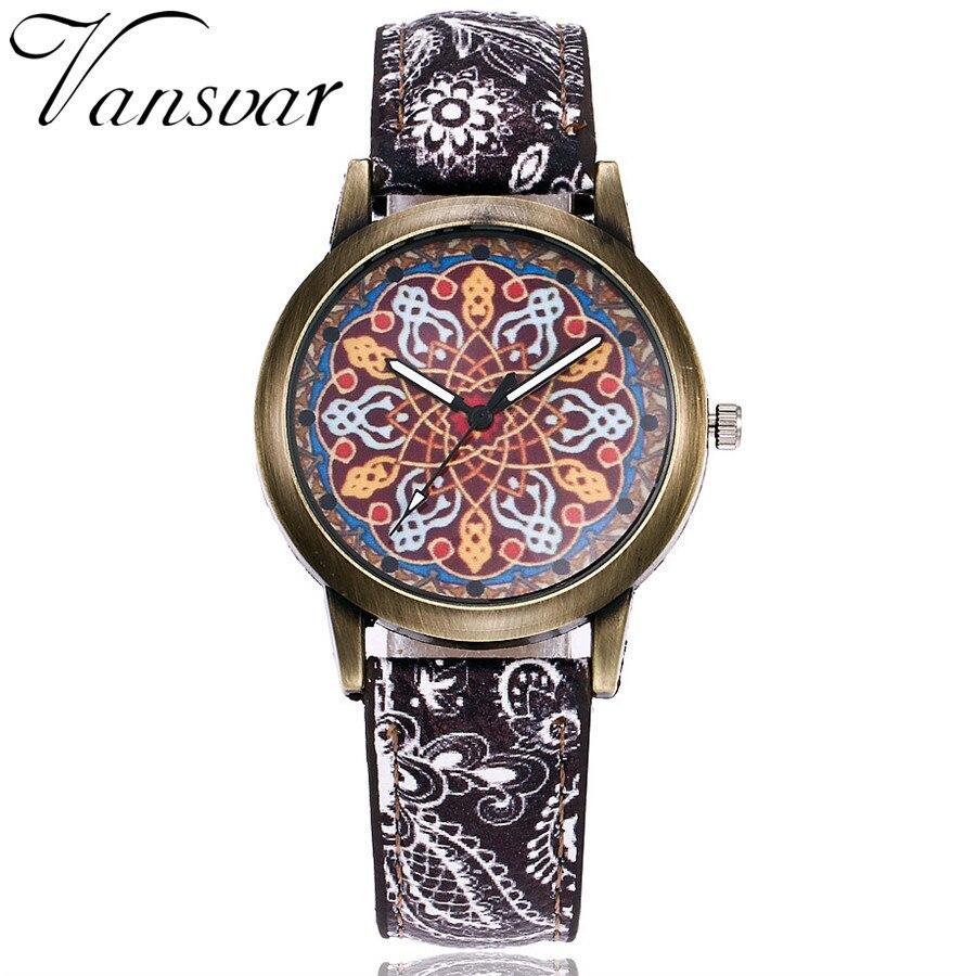 2017 Vansvar Brand New Creative Vintage Women Watches Ladies Casual Leather Quartz Wristwatches Clock Hours Relogio Feminino