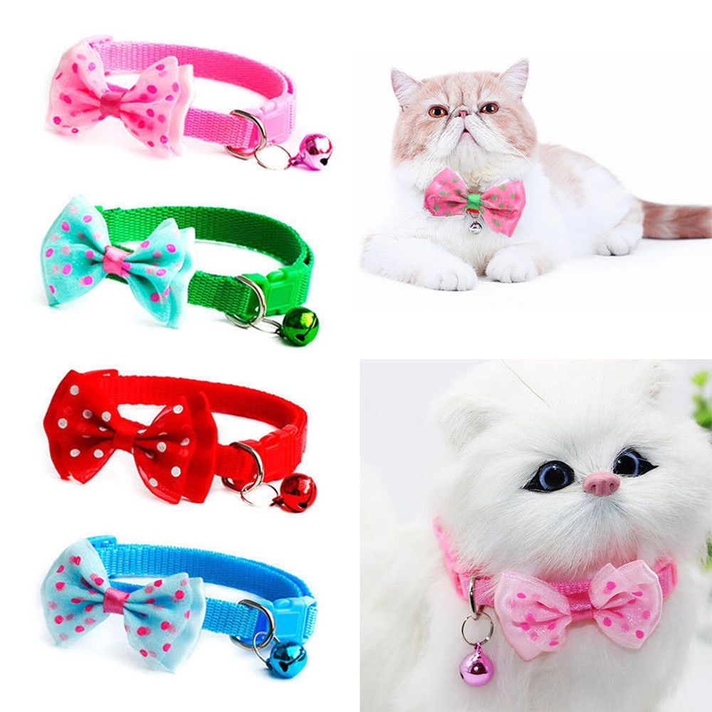 1pc Candy Color Adjustable  Bow Tie Bell Bowknot Sale Collar Necktie Puppy Kitten Dog Cat Pet