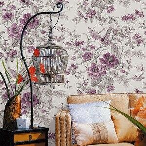 Image 3 - Красные винтажные обои с птицами и цветами, китайские цветочные обои для стен, спальни, гостиной, Деревянные Настенные бумаги, нетканые
