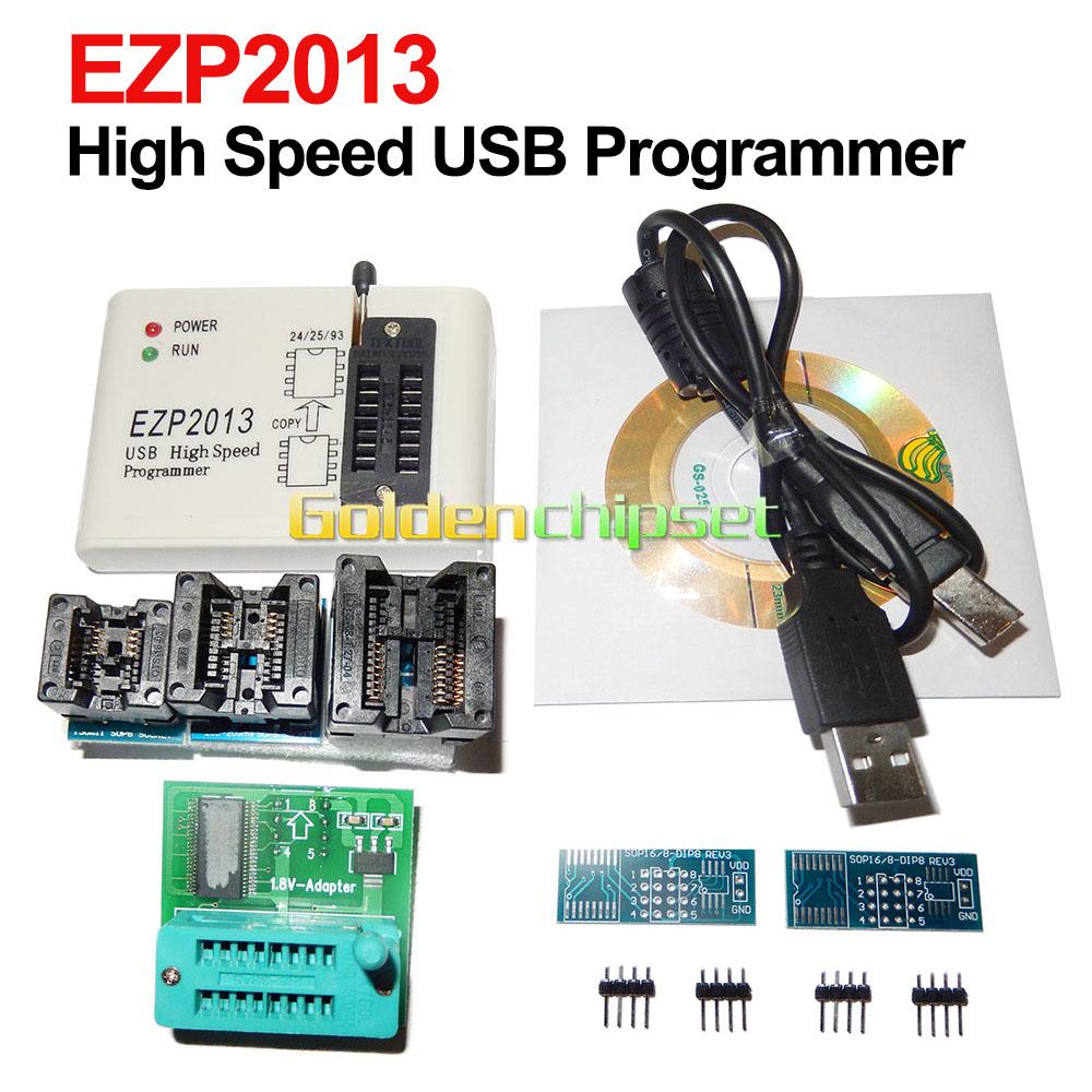 US $21 15 10% OFF|EZP2013 USB High Speed Programmer +5 PCS Adapter +1 8V  Adapter SPI 24 25 93 EEPROM Flash Bios win8 32/64bit Support WIN7 WIN8-in
