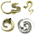 Showlove-1Pc Bronze Dragão Tribal & Cobra & Seahorse & Elephant Spiral Ear Taper Expander Plugs Piercing Brincos Jóia Do Corpo Do Calibre