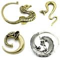 Showlove-1Pc Bronze Dragão Tribal & Cobra & Seahorse & Elephant Spiral Ear Taper Expander Plugs Piercing Brincos Jóia Do Corpo Do Calibre