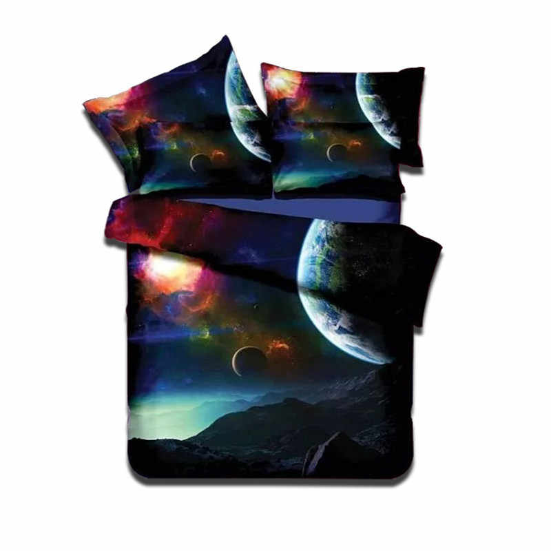 Home Textile 3D Printing Stars Bedclothes Universe Pattern Galaxy Bed Linens Pillowcase Sheet Duvet Cover Bed Cover Bedding Sets
