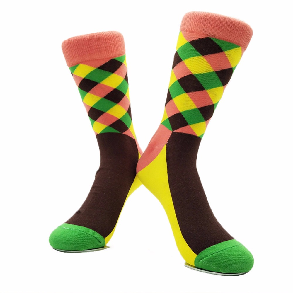 Mens socks happy Funny Socks Combed Cotton Men Socks Plus Size Quality Colorful Pattern Business Funny Happy Dress socks